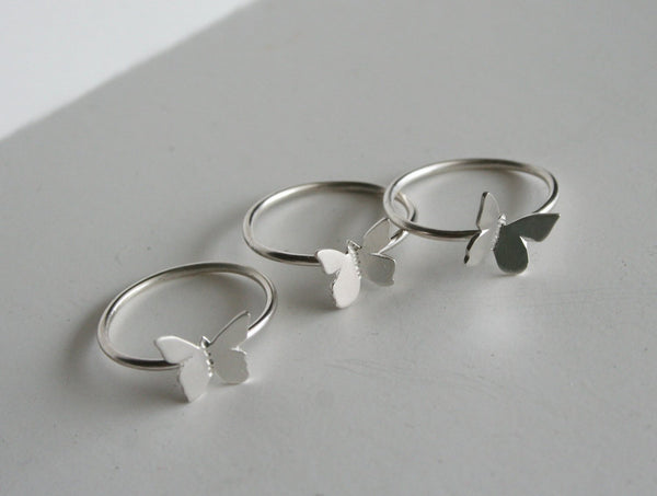 Trio of Silver Butterfly Rings, Stacking Rings, Butterfly Jewelry, Silver RIng, Three RIngs, Butterfly Ring, Silver Butterfly, Gift for Her