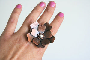 Two Finger Ring, Double Finger Ring, Mixed Metal RIng, Rustic Flower Ring, Statement Ring, Giant Flower Ring, Statement Ring, Copper Ring
