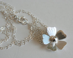 Rustic Silver Poppy Necklace, Silver Poppy Jewelry, Poppy Jewelry, Silver Flower Necklace, Silver Flower Jewelry, Pretty Flower Necklace