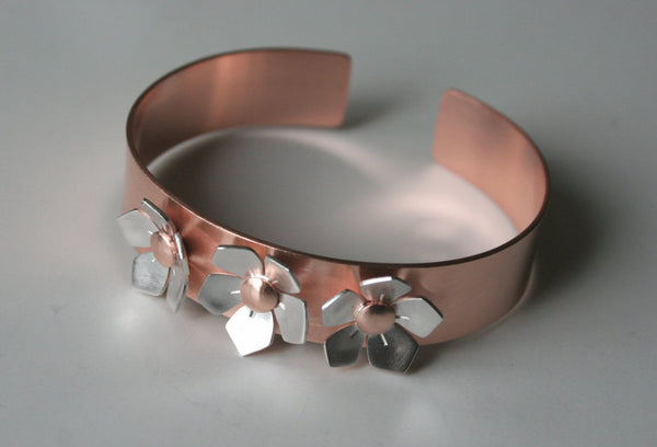 Apple Blossom Silver and Copper Cuff Bracelet, Copper Cuff, Copper Jewelry, Copper Bracelet, Flower Bracelet, Cuff with Flowers, Mixed Metal