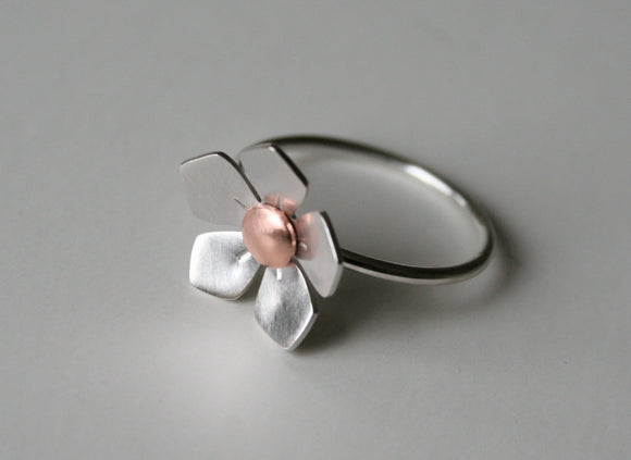 Silver and Copper Apple Blossom Metal Ring, Silver Flower Ring, Silver RIng, Mixed Metal RIng, Metal RIng, Sterling Silver Ring, Flower RIng