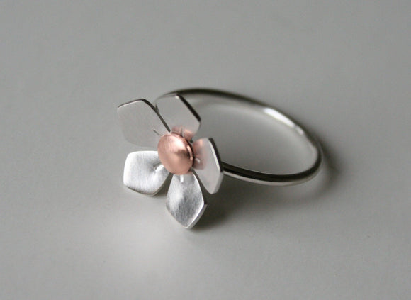 Ready To Ship, Silver and Copper Apple Blossom Metal Ring, Copper and Silver RIng, SIlver Flower RIng, Mixed Metal RIng, Silver RIng, 925