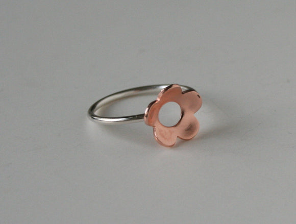 Ready to Ship, Size 6.5, Copper and Silver RIng, Flower Ring, Mixed Metal Jewelry, Handmade Ring, Metalwork, 925, Cherry Blossom, Flower