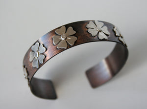 Rustic Roses,  Brass and Sterling Silver Metal Cuff Bracelet, Flower Cuff, Rustic Jewelry, Mixed Metal Jewelry, Silver Flowers, Brass Cuff