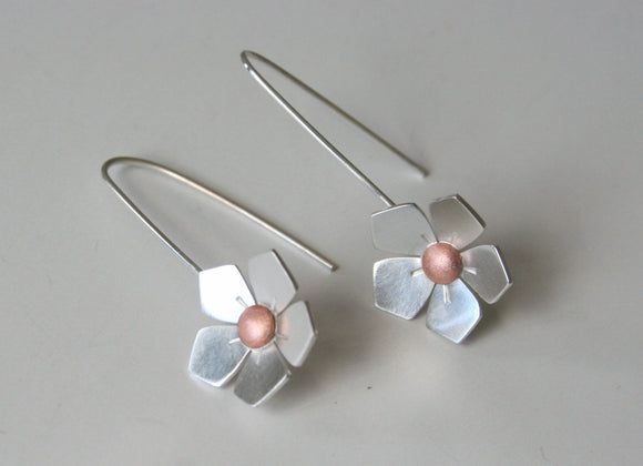 Apple Blossom, Silver and Copper Flower Earrings, Flower Earrings, Mixed metal Earrings, Gift for Her, Silver Earrings, Minimal Flowers