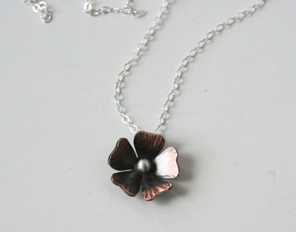 Copper and Silver Rustic Poppy Necklace, Rustic Necklace, Rustic Jewelry, Rustic Flowers, Patina, Dark Color FLowers, Flower Jewelry