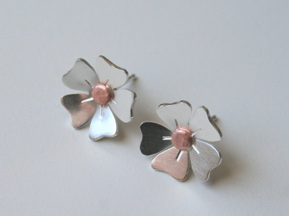 Copper and Silver Stud Earrings, Mixed Metal Earrings, Copper and Silver Earrings, Flower Stud Earrings, Flower Stud Earrings, 925