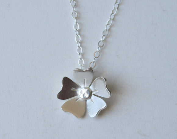 Daisy Silver Flower Necklace, Silver Necklace, Cute Necklace, Bridesmaid Necklace, Flower Necklace, Flower Jewelry, Silver Jewelry, 925