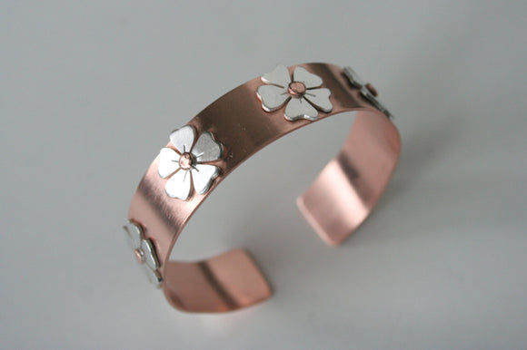 Rustic Copper Cuff with Silver Flowers, Cuff with Silver Flowers, Country Chic, Boho Cuff, Natural Copper Jewelry, Mixed Metal Cuff Bracelet