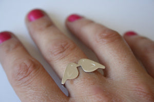 Sterling Silver Kissing Birds Ring