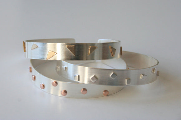 Confetti Silver Cuff Bracelets, Party Cuffs, Party jewelry, Silver Cuff, Mixed Metal Cuff, Geometric Jewelry, Geometric Bracelet, Triangle