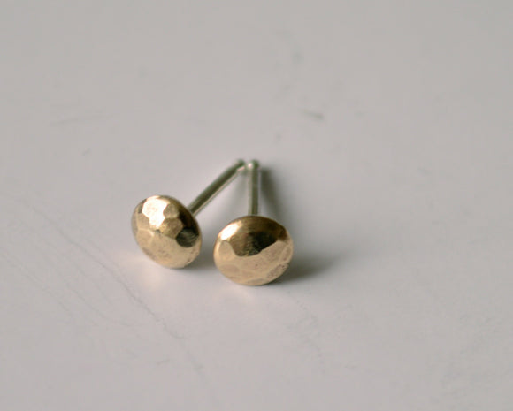 Ready to Ship, Simple Brass Pebble Earrings, Stud Earrings, Silver and Gold, Hammered, Small Earrings, Dot Earrings, Polished Earrings