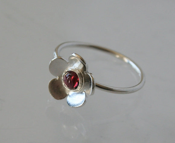 Cherry Blossom, Sterling Silver and Rhodolite Ring, Red Gemstone RIng, Tiny FLower RIng, Bezel Set, Red Stone, Cherry Ring, Flower RIng, 925