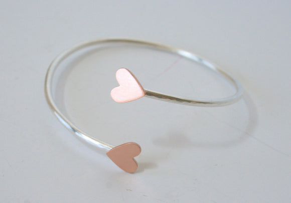 Silver Cuff Bracelet, Hammered Silver Cuff, Copper Heart Bracelet, Silver and Copper Bracelet, Rose Gold Color, Copper Jewelry, Stackable