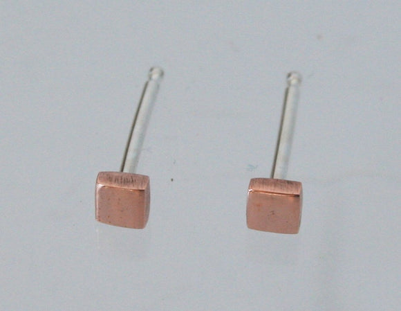 Tiny Copper Square Post Earrings, Geometric Earrings, Tiny Earrings, Square Earrings, Geometric Jewelry, Copper Earrings, Natural Copper