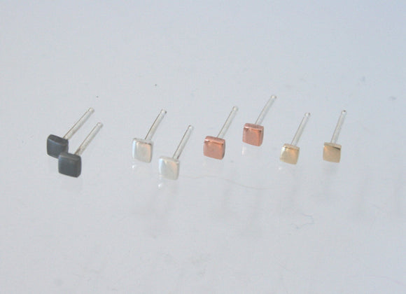 Set of Tiny Square Post Earrings, Post Earrings, Create Your Own Set, Geometric Earrings, Geometric Jewellery, Square Jewelry