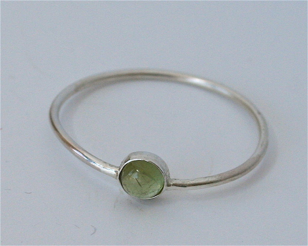 Ready to Ship, Size 7.5, Minimal Silver and Green Tourmaline Stacking Ring, Stacking RIng, Gemstone RIng, Cabochon RIng, TIny Stacking RIng,