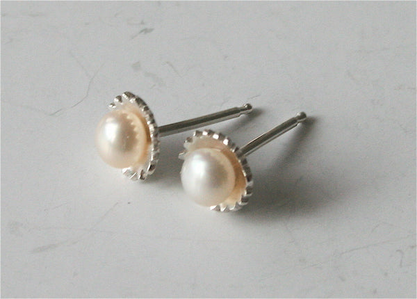 Fancy Silver and Pearl Post Earrings, Pearl Earrings, White Pearl Earrings, Bridal Earrings, Post Earrings, Pearl Post Earrings, Silver