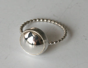 Super Polished Silver Dome Ring, Polished Silver RIng, Beaded Silver RIng, Modern Ring, Handmade RIng, Silver Cabochon RIng, Bezel Set, 925