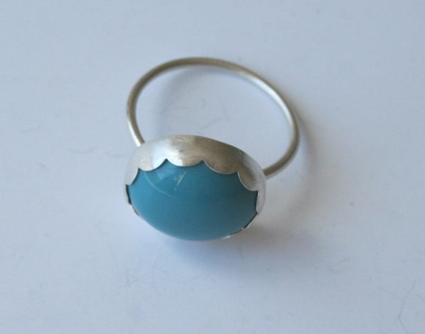 Blue and Silver Bubble Ring, Turquoise Ring, Robins Egg Blue Ring, Blue Glass RIng, Scalloped Ring, Fancy Bezel Ring, Silver RIng,