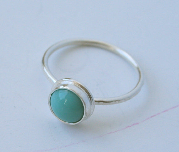 Sterling Silver Ring, Glass Ring, turquoise Color Ring, Silver Ring, Modern Ring, Dot Ring, Turquoise RIng, Modern Ring, Bezel Setting