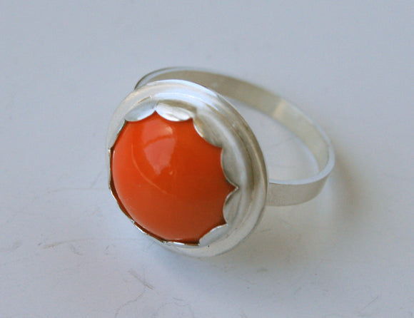 Ready to Ship, Scalloped Bezel Ring, Vintage Orange Glass, Handmade Silver RIng, Cocktail Ring, Bezel Setting, Handmade Ring, Silver, 925