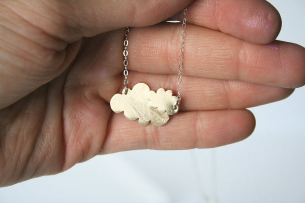 Two Clouds Necklace, Brass Clouds, Gold Color Clouds, Rain Clouds, Cloud Necklace, Cloud Jewelry, Handmade Metal Jewelry, Artisan Jewelry