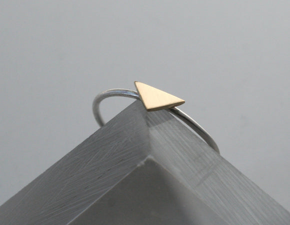 Minimal Brass and Silver Triangle Ring, Geometric Ring, Geometric Jewelry, Stacking Ring, Triangle Jewelry, Tiny Triangle Ring,