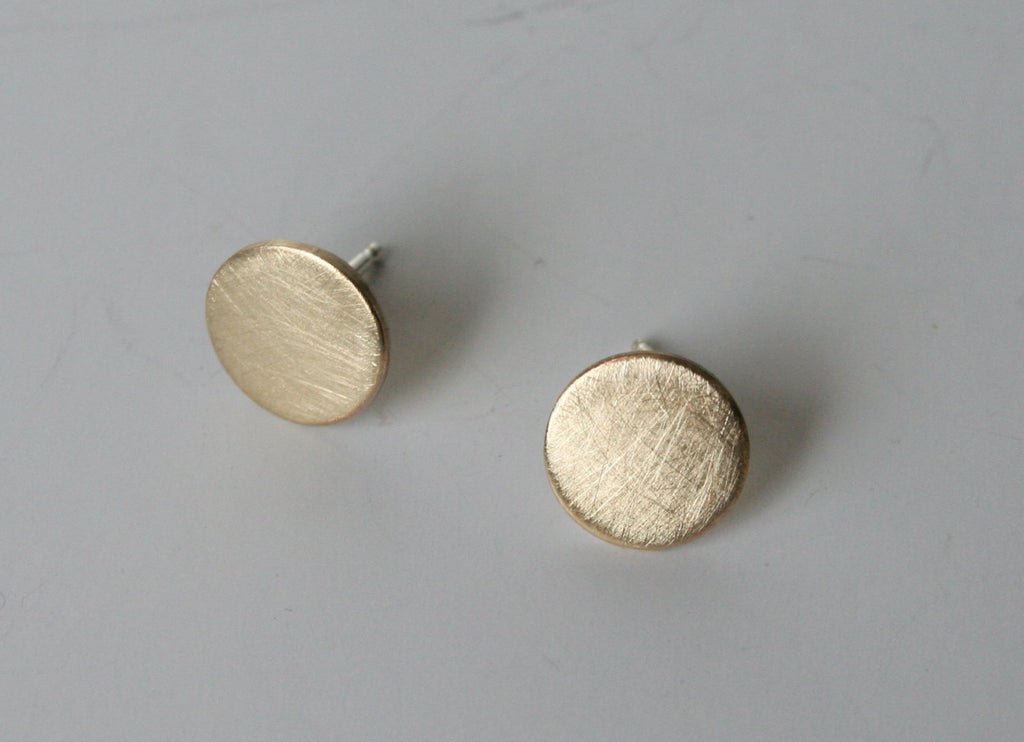 Ready to Ship, Gold Dot Earrings, Post Earrings, Brass Dot Earrings, Modern Jewelry, Brushed Finish, 9mm dots, Simple Earrings, Stud Earring