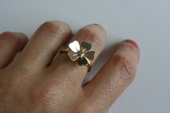 Poppy Ring, Silver Flower Ring, Brass Ring, Golden Ring, Hammered Ring, Flower Ring, Silver Flower, Gift for Her, Girls Ring, Statement Ring