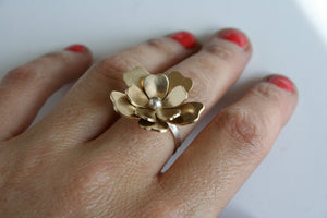 Pretty Brass and Silver Big Flower Ring, Gold and Silver Flower Ring, Flower Ring, Statement Ring, Flower Statement Ring, Cocktail Ring