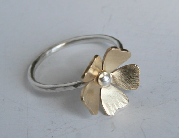 Brass And Silver, Poppy Flower Ring, Gold and Silver, Poppy Ring, Gift For Her Girls Ring, Brass and Silver Ring, Mixed Metal Ring, Handmade