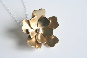 Big Flower Necklace, Golden Flower, Brass Flower, Flower Jewelry, Statement Jewelry, Gift for Her, Metalwork, Silver and Gold, Huge Necklace