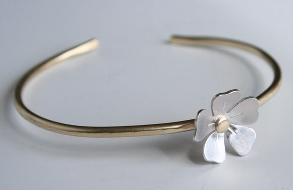 Dainty Gold and Silver Flower Cuff, Flower Jewelry, Flower Bracelet, Gift For Her, Pretty Jewelry, Sterling Silver, Silver Flower Bracelet