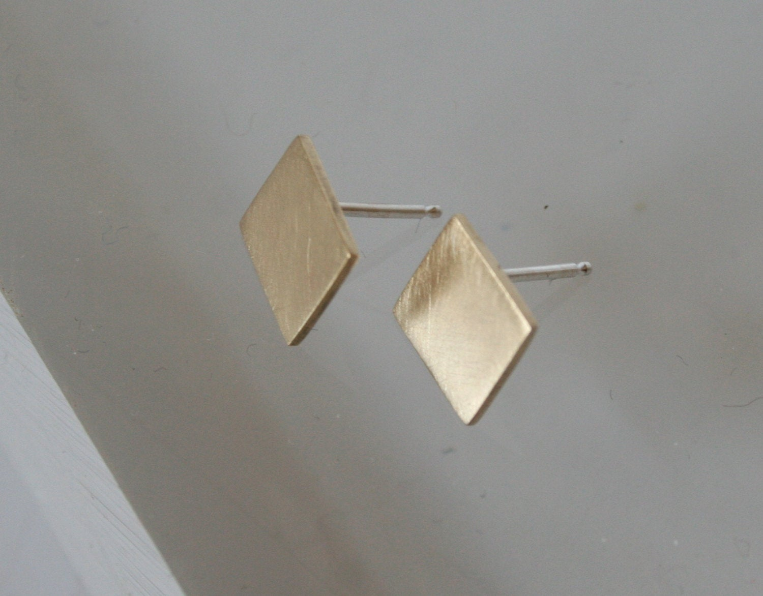 Brass Diamond Shape Stud Earrings, Square Earrings, Gold Stud Earrings, Geometric Earrings, Geometric Jewelry, Square Earrings