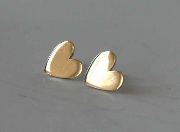 Super Polished Brass Heart Stud Earrings, Gold Heart Earrings, Post Earrings, Stud Earrings, Heart Jewelry, Gift For Her