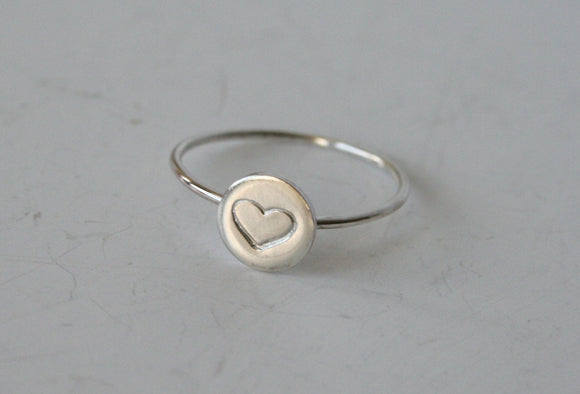 Silver Heart Ring, Heart Jewelry, Heart Ring, Silver RIng, 925, Sterling Silver Ring, Brass Ring, Stamped Ring, Heart Jewelry