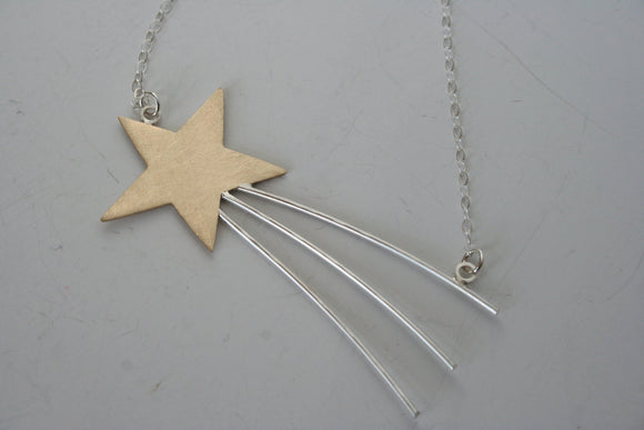 Shooting Star Necklace, Gold Star Necklace, Shooting Star Jewelry, Statement Necklace, Handmade Necklace, Big Star, Gold Star Jewelry