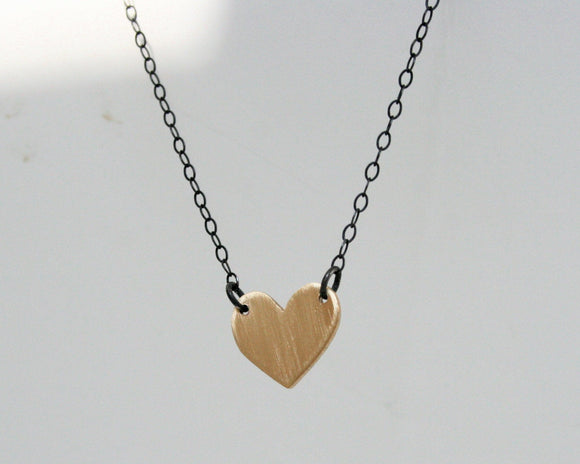 Heart Necklace, Heart Jewelry, Gold Heart Necklace, Golden Heart Jewelry, Black and Gold Jewelry, Dainty Necklace, Black Chain, Small Heart