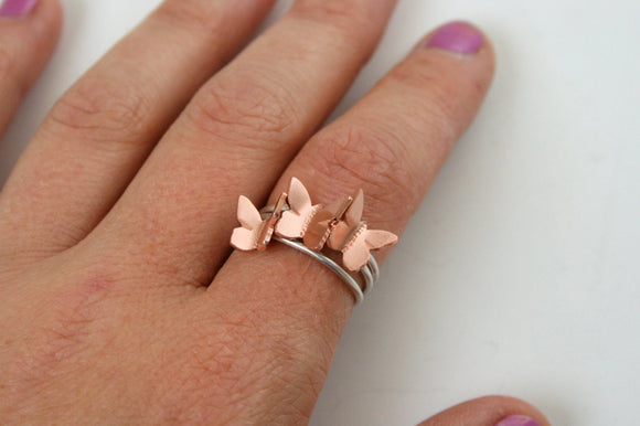 Copper and Silver Stacking Butterfly Ring Set, Butterfly Jewelry, Gift for Her, Anniversary Gift, Stackable Rings, Copper Jewelry, Silver