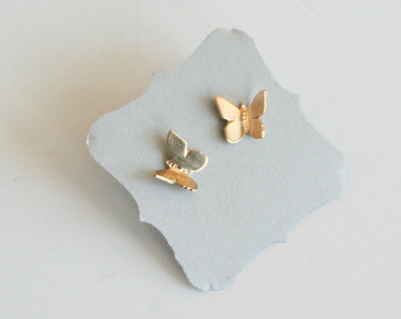 Flying Butterflys Brass Stud Earrings, Butterfly Stud Earrings, Gold Color Earrings, Flying Butterflys, Butterfly jewelry, Handmade Earrings