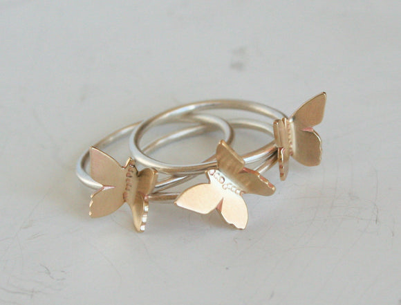 Flying Butterflys Stacking Ring Set, Stacking RIngs Ring Set, Butterfly Rings, Butterfly Jewelry, Gift For Her, Brass and Silver Rings