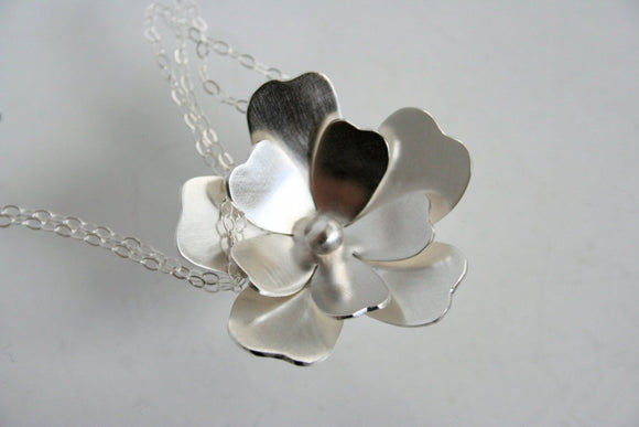 Ready to Ship, Sterling Silver Flower Statement Necklace, Silver Necklace, Bridesmaid Necklace, Metalwork, Silver Jewelry, Gift for Her