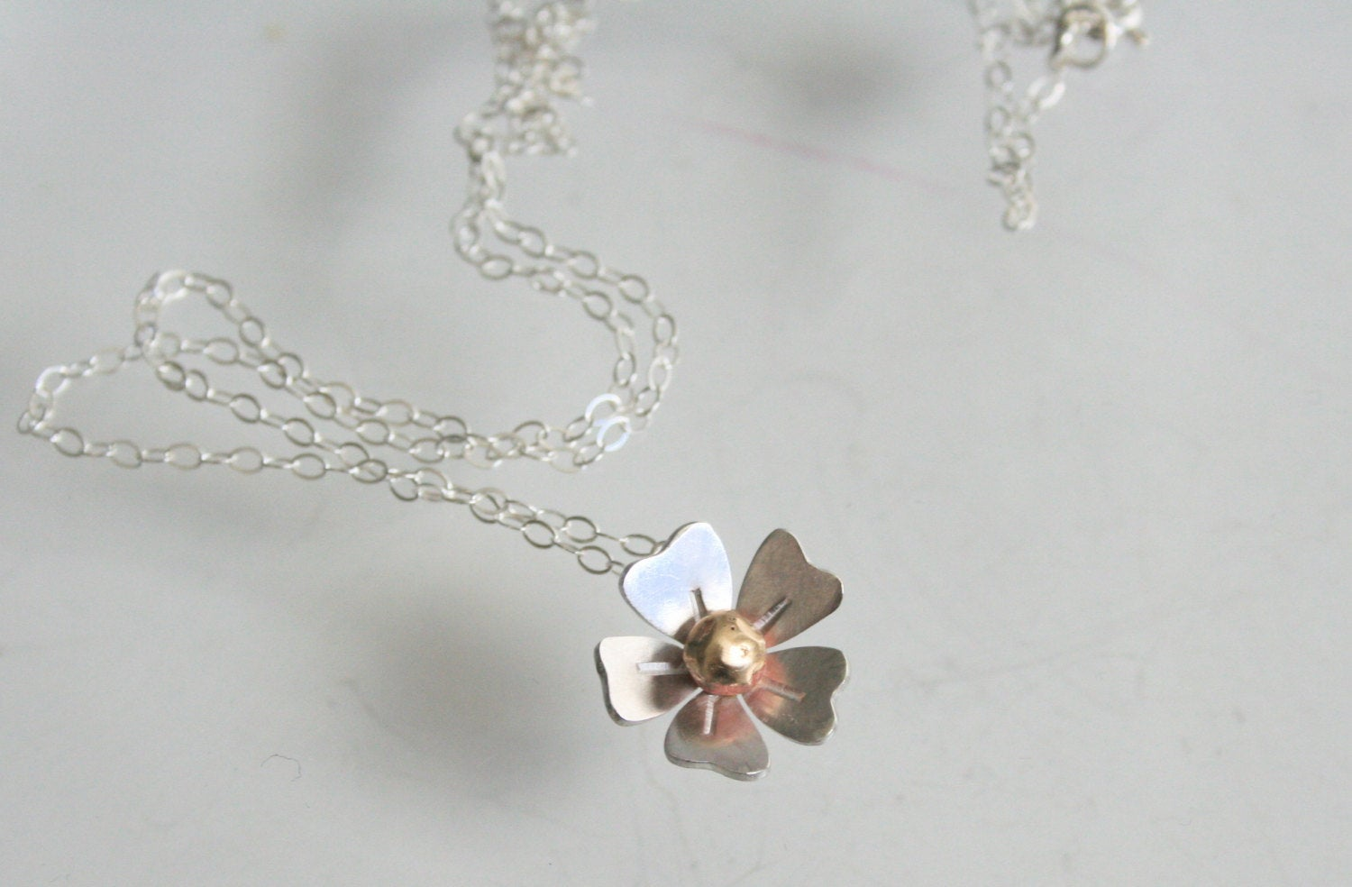 Silver and Brass Daisy Necklace, Flower Jewelry, Handmade Necklace, Metalwork, Silver and Gold Color, Gift For her