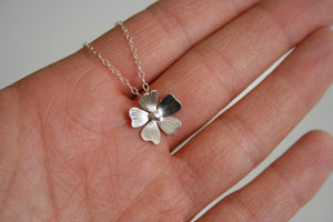 Silver Flower Necklace, Tiny Flower Necklace, Silver Necklace, Flower Jewelry, Bridesmaid Necklace, Gift for her, Poppy Necklace, Daisy