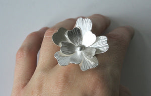 Giant Silver Flower RIng, Huge Flower Ring, Statement RIng, Cocktail Ring, Sterling Silver Ring, Big Ring, Handmade Metal Ring, Gift for Her