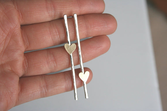 Heart Post Earrings, Bar Earrings, Silver Bar Earrings, Long Post Earrings, Off Set Hearts, Heart Earrings, Silver Heart Earrings, Brass