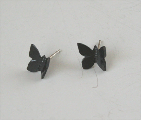 Black Butterfly Earrings, Flying Butterfly Earrings, Butterfly Post Earrings, Butterfly Stud Earrings, Butterfly Jewelry, Gift for Her