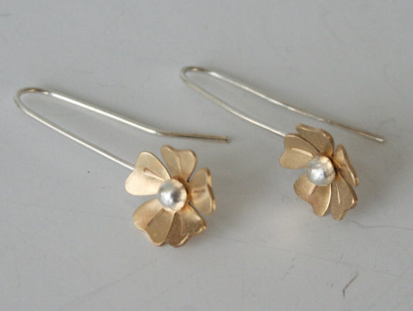 Gold and Silver Flower Earrings, Brass and Silver Earrings, Flower Earrings, Gold Flower Earrings, Rose Earrings, Metal Flower Earrings
