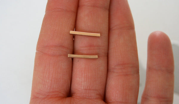 Bronze Bar Earring, Bronze Earrings, Bronze Jewelry, Bar Earrings, Stick Earrings, Post Earrings, Square Earrings, Modern Earrings, Minimal